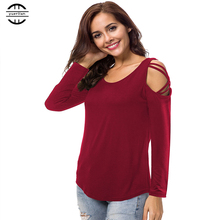 2019 New Spring Plus Size T Shirt Women Casual O Neck Long Sleeve Tee Femme Sexy Off Shoulder Big Tops XL
