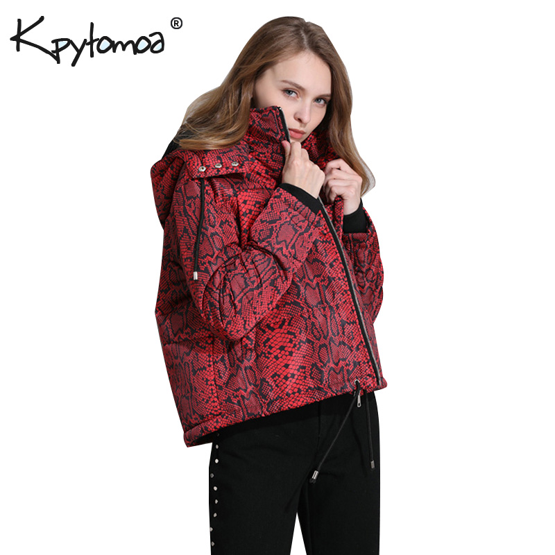 Vintage Snake Print   Parkas   Puffer Jacket Women Padded Coat 2018 Fashion Hooded High Collar Animal Pattern Casual Outerwear Tops