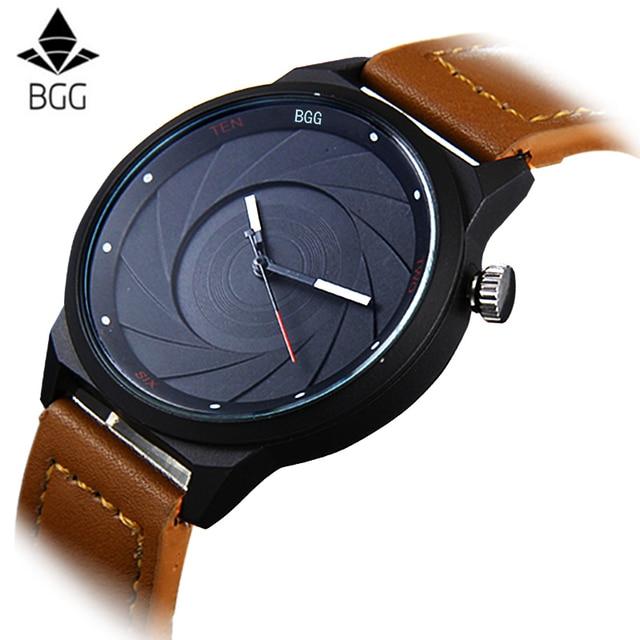 2d6762634 Bgg ماركة عارضة الرجال الساعات الفاخرة الإبداعي جلدية سوداء الكوارتز الرجال  ساعة اليد الأعمال الذكور بسيطة