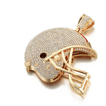 Zwarte Badge Enorme American Football Helm Hanger Iced Out Volledige Crystal Ketting Ketting Bal Sport Hip Hop Mannen Sieraden(China)