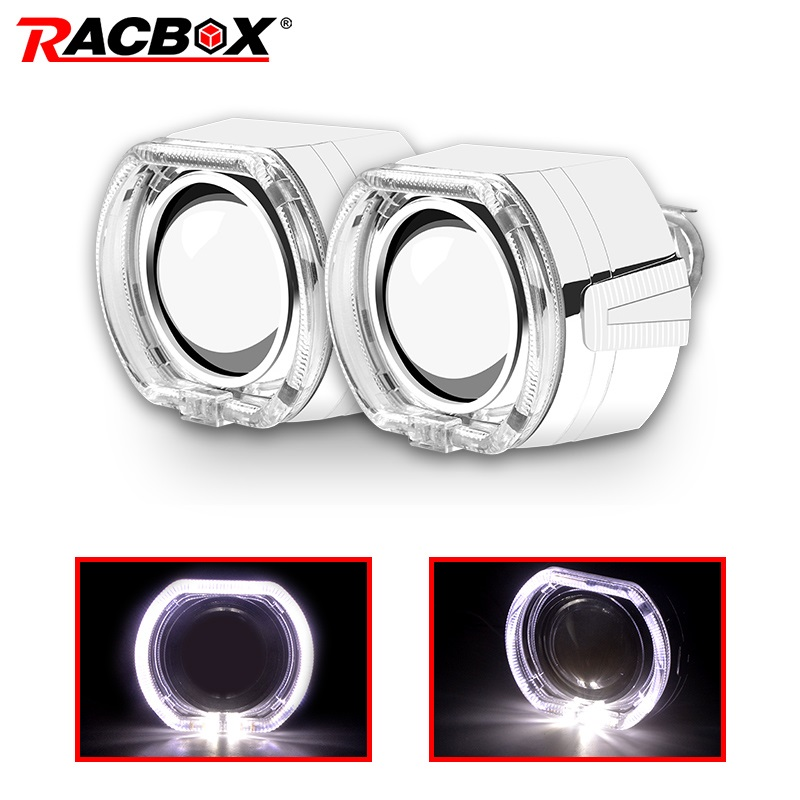 RACBOX Brand Car Styling X6 Square Led Angel Eyes Halo DRL HID Bi Xenon Projector Lens Lenses Refit H4 H7 Headlight Use H1 Bulbs
