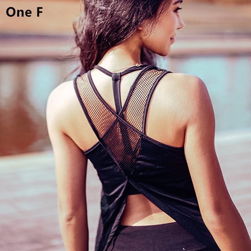 One F Womens Mesh Back Yoga Top Quick Dry Breathable Fitness Clothing Ultra Soft Workout Sport T-shirt Sportswear For Gym