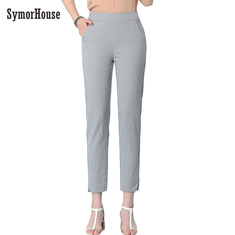 SymorHouse Cotton Linen Pants for Women Trousers Casual Solid Color Women pencil Pants Plus Size thin pants Capri Women's Summer