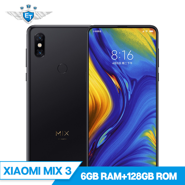New In Stock Xiaomi Mi Mix 3 6GB 128GB Mobile Phone 6.39'' AMOLED Snapdragon 845 2 Front & 2 Back Cameras Wireless Charging NFC