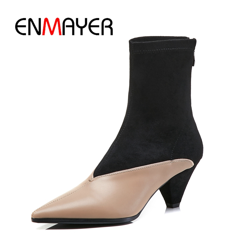 ENMAYER Women boots women pointed toe botas mujer women. mixed color zipper ankle boot square heel boots Big Size 34-39 ZYL1077ENMAYER Women boots women pointed toe botas mujer women. mixed color zipper ankle boot square heel boots Big Size 34-39 ZYL1077