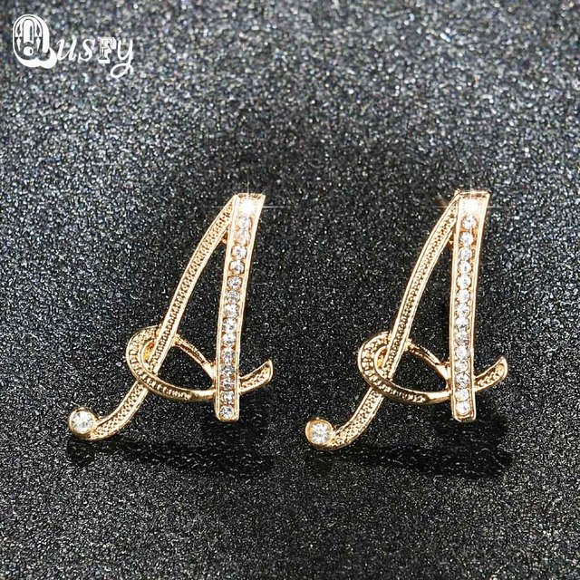 for initials plated stud female g item silver qusfy color crystal gold letter shiny earrings
