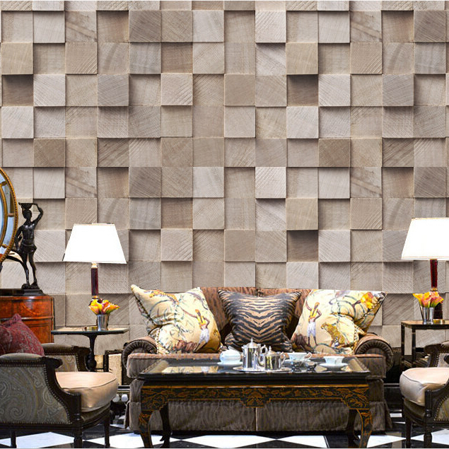 Wholesale 3d wood murals for SOFA background wood square plaid grid mural LIVING ROOM papel de parede 3D PHOTO mural home decor