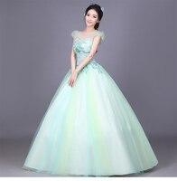 100% реальный свет мятно зеленый цветок вышивка пузырь рукав бальное платье Средневековой Эпохи Возрождения Платье королевы Викторианской п