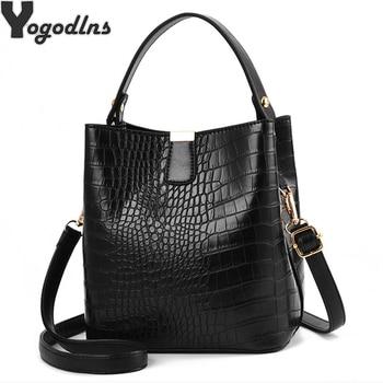 Retro Alligator Bucket Bags Women Crocodile Pattern Handbag Capacity Casual Crocodile Shoulder Messenger Bags Ladies PU Purse