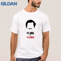Pablo Escobar Narcos Plata O Plomo Camisa Loose Mens White Tees Beauty No Buckle Hip Tope