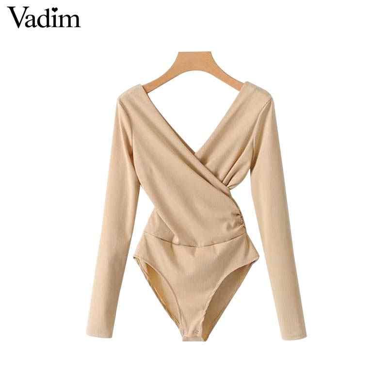 Vadim женские трикотажные боди с v-образным вырезом и эластичной резинкой на талии, длинные рукава, эластичные комбинезоны, однотонные женские модные шикарные топы KA179