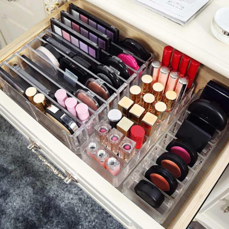 M 3 Size New Brush Lipstick Holder Makeup eye shadow Organizer Clear Acrylic Cosmetic Makeup Tools Storage Box Case C197