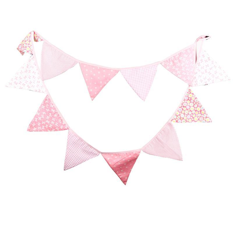 Креативные розовые баннеры из хлопковой ткани, 12 флагов, 3,2 м, баннеры, праздничные баннеры для свадьбы, дня рождения, детского шоу, Лидер про...