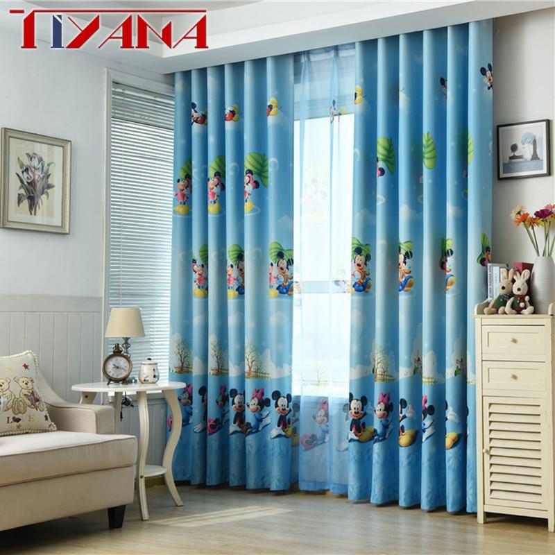 Blue Kids Room: Blue Cartoon Children Curtains For Living Room Kids