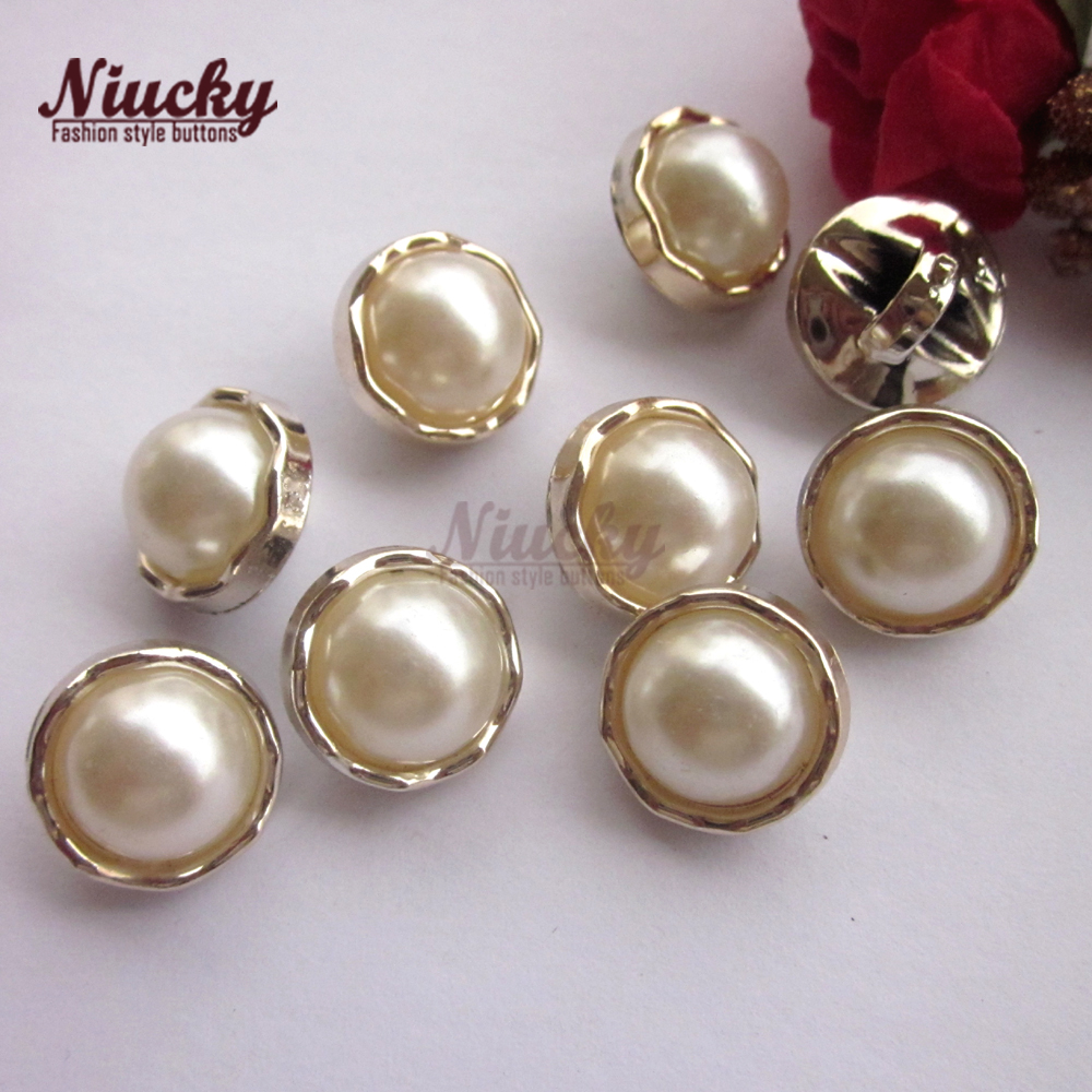 Niucky 12.7mm 1/2 Basic gold edge pearl shirt button for sewing fashion clothing DIY craft decorative materials P0301d-044
