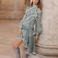 2018 New Women Fashion Dress High Quality Beach Vocation Mini Dress Sleeve Long Bow Style Dress Strip Luxury Brand Dress