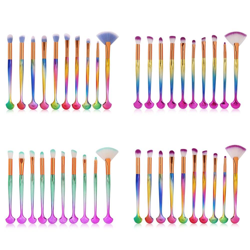 10 Pcs/Set Shell Makeup Brushes Foundation Powder Eyeshadow Concealer Blusher Make Up Brush Kit Cosmetic Tool 789(China)