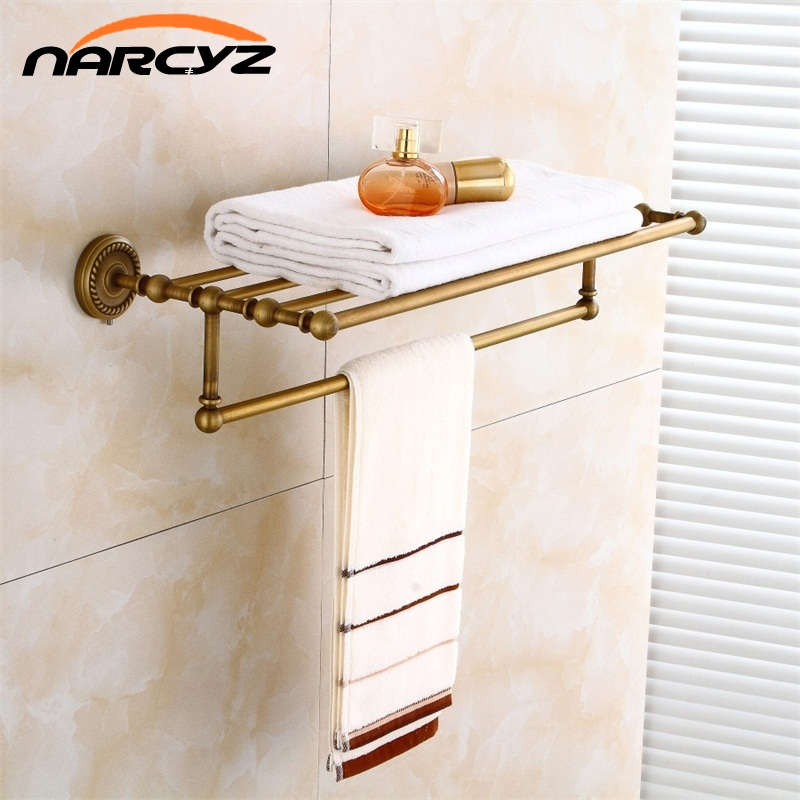 Bathroom Shelves 2 Tier Rails Antique Brass Towel Rack Bath Shelf Towel Holder Hangers Classic Home Deco Wall Towel Bars 9148K bathroom shelves 5 towel hooks brass 2 tier rails towel bars wall shelf bath hangers bathroom accessories towel holder fe 8601