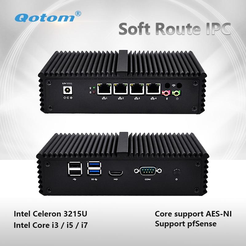 Qotom Q300G4 Mini PC Celeron Core i3 i5 i7 Pfsense Router Firewall 4 Gigabit LAN 4