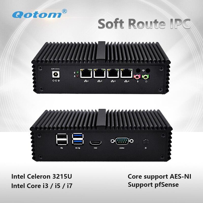 Qotom-Q300G4 Mini PC Celeron Core i3 i5 i7 Pfsense Router Firewall máquina 4 Gigabit NIC Mini ventilador del servidor pequeño equipo