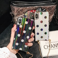 Girly Case For iPhone Xr X Xs Max Cover Korean Aurora Gradient Color Dot Skin Bag Cases 7 8 Plus 6S + Long Chain