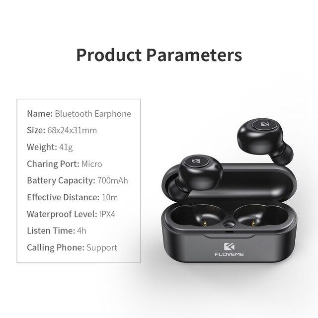 FLOVEME Mini TWS Wireless Headphones Bluetooth 5.0 Earphone Sport Earphones Headset 3D Stereo Sound Earbuds Micro Charging Box 5