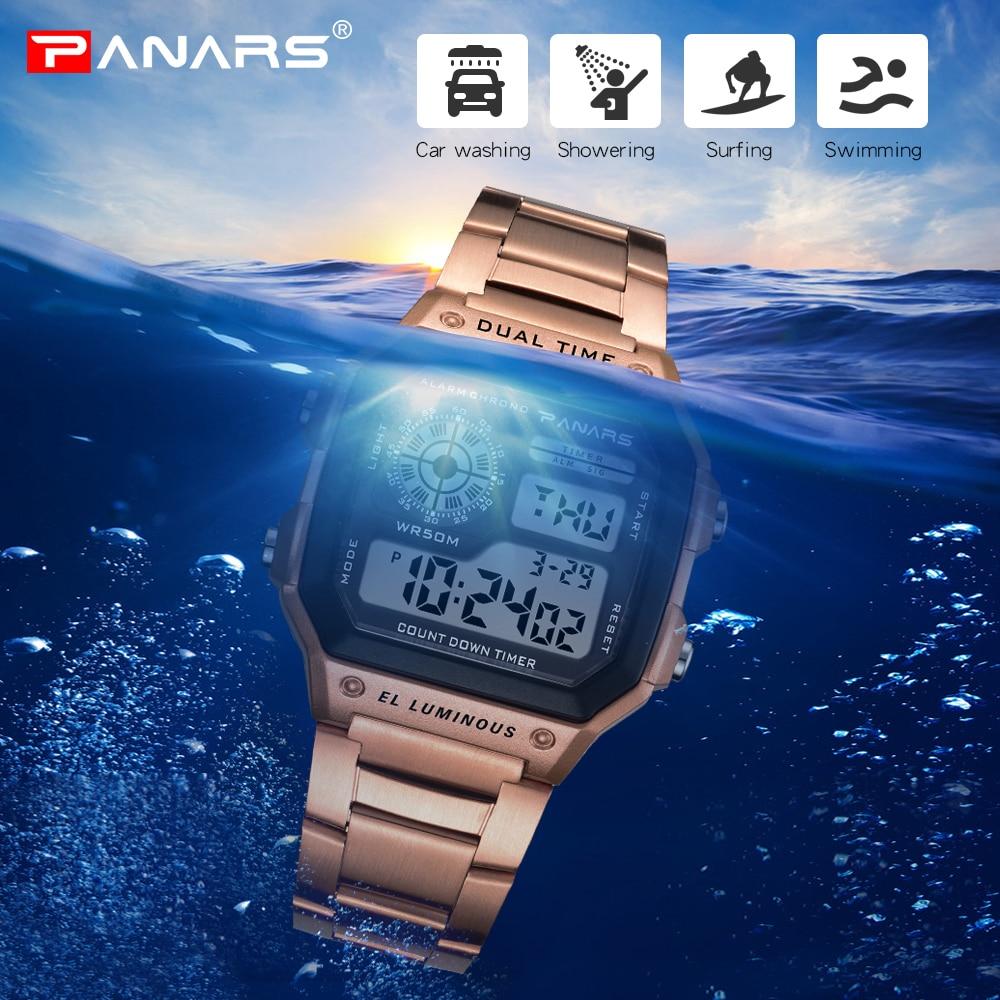 9c216eb1129 PANARS Esportes Homens Relógios Retro Aço Inoxidável Ouro G Choque Relógios  De Pulso Digitais À Prova D  Água Masculino Relógio Relogio masculino em ...