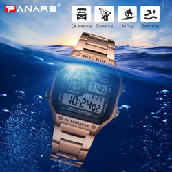 PANARS Men Sports Watches Count Down Waterproof Gold Stainless Steel G Digital Wristwatches Shock Male Clock Relogio Masculino