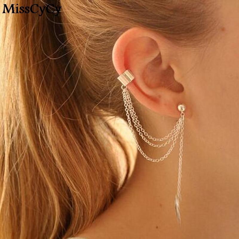 Us 0 6 5 Off Misscycy Punk Rock Leaf Chain Tel Dangle Ear Cuff Wrap Earring Gold Color Earrings In Jewelry 1 Pcs Drop From