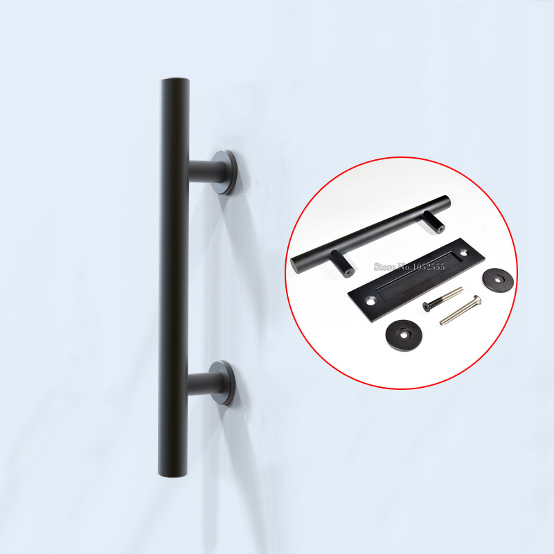 High Quality Black Stainless Steel Barn Door Handles Pulls & Wooden Sliding Door Handle knobs 550mm high quality clear crystal glass big gate door handles stainless steel big gate door handle pulls wooden door pulls