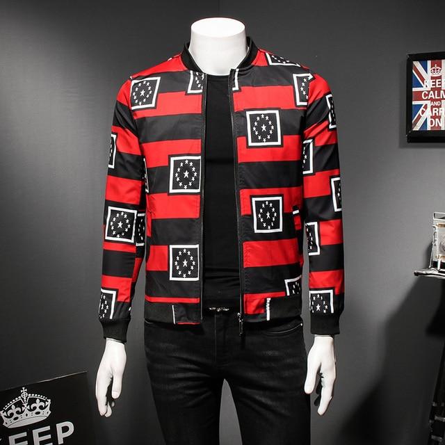 59b715a0083 Luxury Black Red Party Mens Bomber Jacket 2018 Spring Autumn Club Outfit  Men Casaca Hombre Prom Designer Jacket Men Plus 5xl