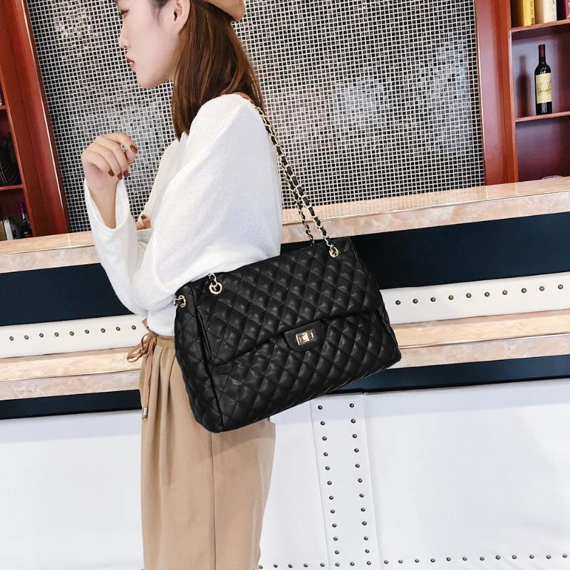 Casual PU Leather Chain Large Shoulder Bag Women Lattice Messenger Handbags Women Lattice Messenger Handbags Dropshipping