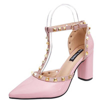 [H]2017 Fashion Rivets High Heel Thick Square Heel pumps pointed toe shoes Sexy Party Pumps for Women  .XXXY-722