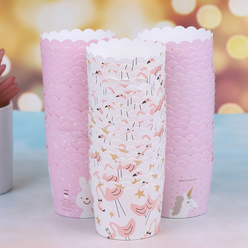 50pcs/lot  Flamingo Birthday Cake Decorating Paper Muffin Cupcake Cups