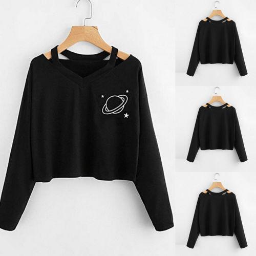 S-XL Women's Hooded Hoodie Sweatshirt Jumper Pullover Crop Top Coat Pullover Tops