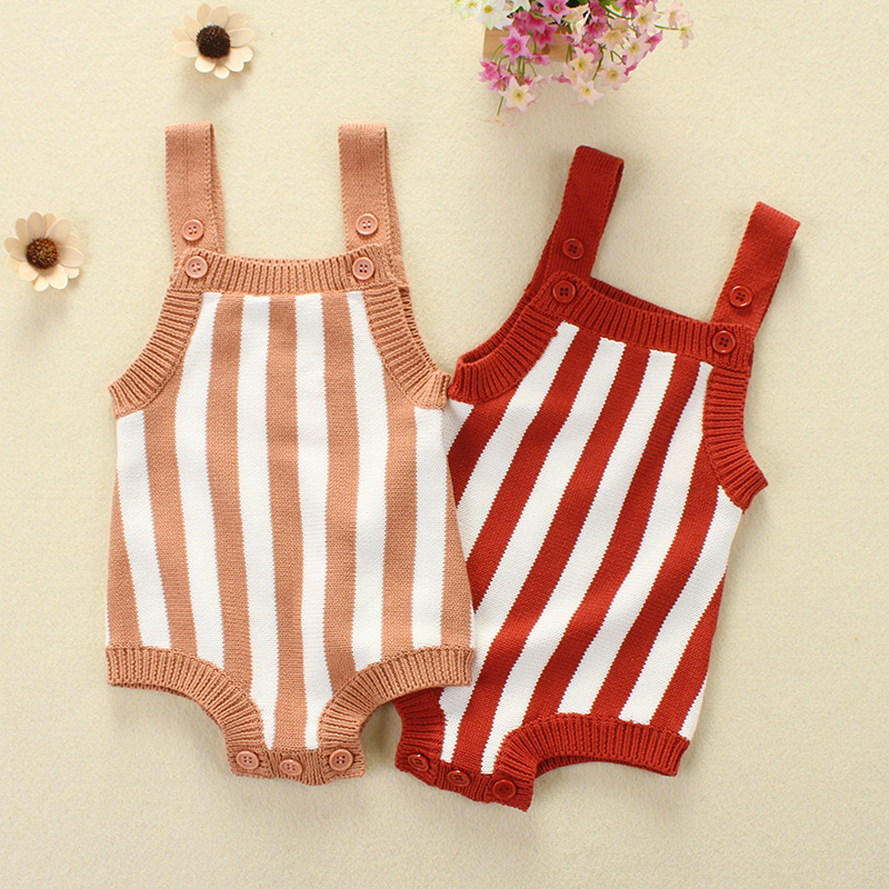 Striped Baby Girl Romper Clothes Newborn Baby Boy Rompers Knitted Baby Overalls Baby Girl Summer Clothes Toddler Clothes Rompers 2017 baby girl summer romper newborn baby romper suits infant boy cotton toddler striped clothes baby boy short sleeve jumpsuits