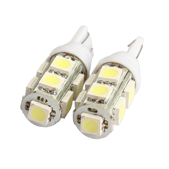 2PCS 194 168 W5W T10 9SMD-5050 LED White Light Car Tail Lamp Bulb Bright 10x t10 194 168 w5w 5 smd 5050 led night light bulb lamp xenon white for car