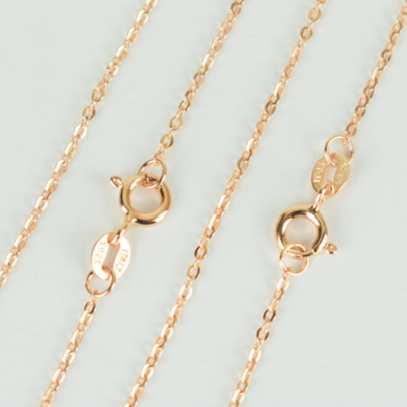 100% Pure 925 Sterling Silver & Rose Gold Color 1mm/2mm Thin Slim Rolo O Cross Chain Necklace Italy Jewelry for Women Kids Girls