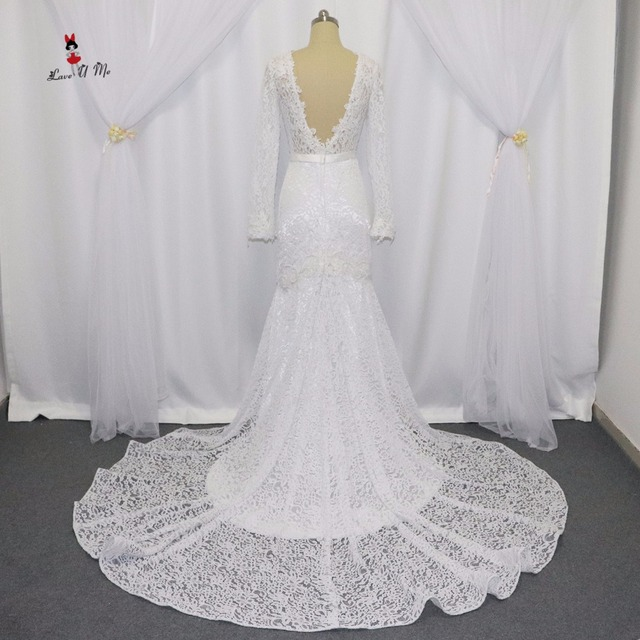 2017 Russian Style Berta Bridal Dresses Lace Mermaid Wedding Dress Long Sleeve Open Back Court Train