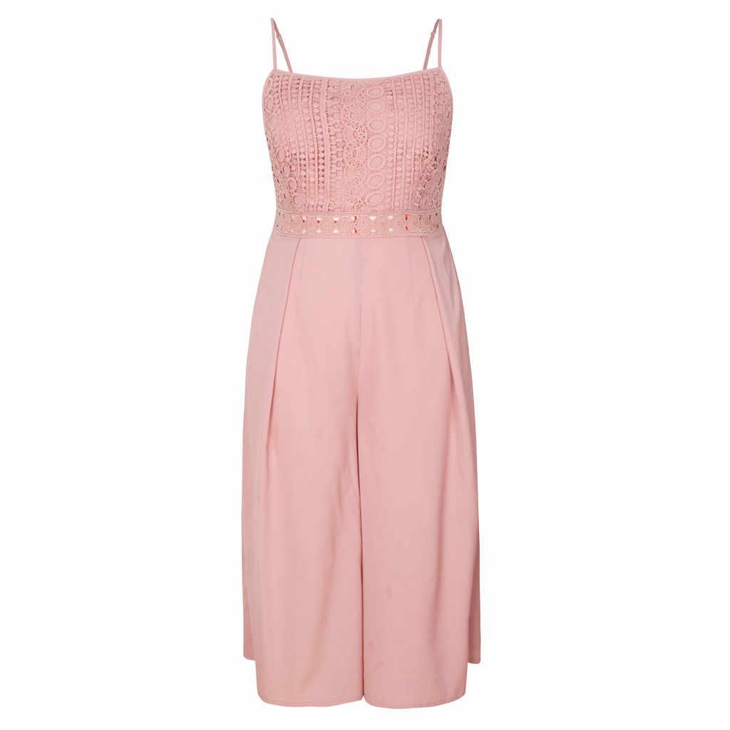 Womail jumpsuit women 여름 민소매 캐미솔 레이스 숙녀 솔리드 컬러 와이드 레그 롱 점프 슈트 백리스 플러스 사이즈 핑크 jun 18