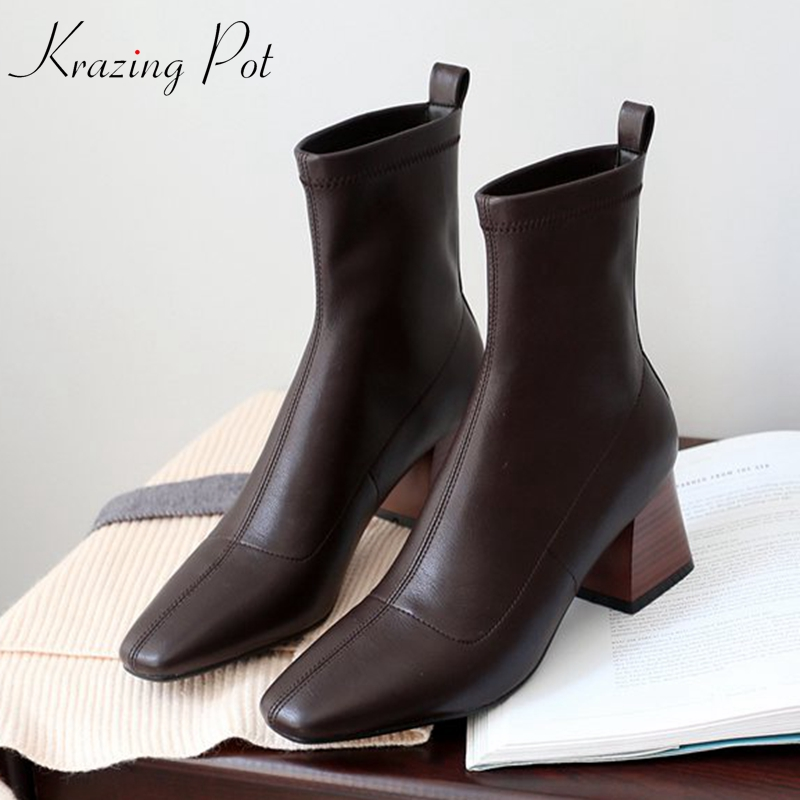 Krazing Pot 2019 microfiber leather shoes high heels slip on Winter dailywear gladiator square toe stretch mid calf boots L43