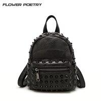 Mini Leather Backpacks Women Punk Style Rivet Backpack Ladies Small Black Daily Bag School Bag Travel