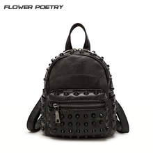 цена на Mini Leather Backpacks Women Punk Style Rivet Backpack Ladies Small Black Daily Bag School Bag Travel Bag for Teenage girls