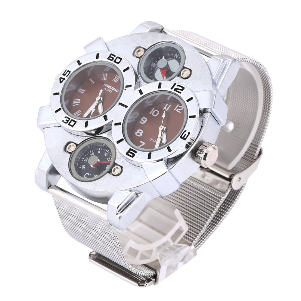 Shiweibao Stainless Steel Army Watch with Compass & Thermometer