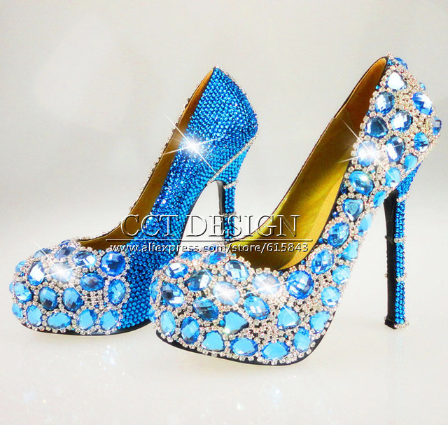 Handmade Sky Blue Diamond and rhinestone crystal wedding high heels  customized sexy ladies ultra high heels evening party shoes b98c7f8c3f69