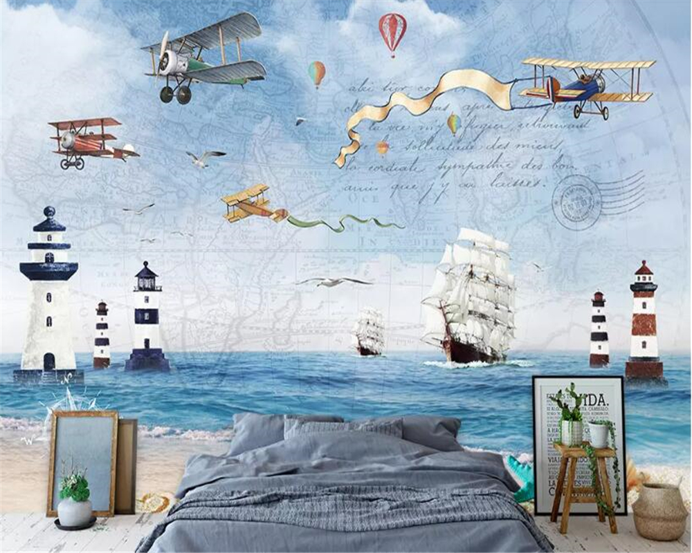 Beibehang Custom Photo Wall Mural 3d Wallpaper Luxury: Beibehang Wallpaper For Kids Room Custom Large Aircraft