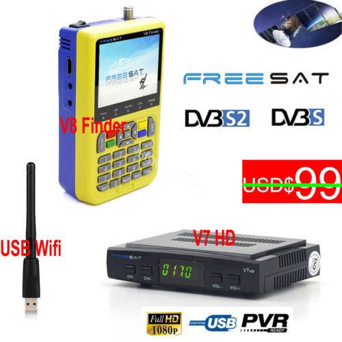 FREESAT V8 Finder 3.5 inch LCD HD DVB-S2 Satellite TV Tuner V-71 V7 HD Receiver USB Wifi Cccam Biss VU Set Top Box Dish Finder