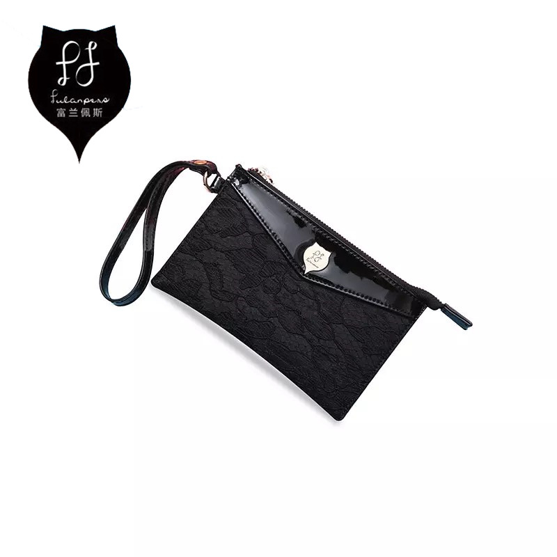 Coin Purse Small Woman Black Original Brand Lace Women Wallet Female Pouch Case Phone Bag For Girl Kid Money Euro Zipper Bags fashion women coin purses dots design mini girl wallet triple zipper clutch bag card case small lady bags phone pouch purse new