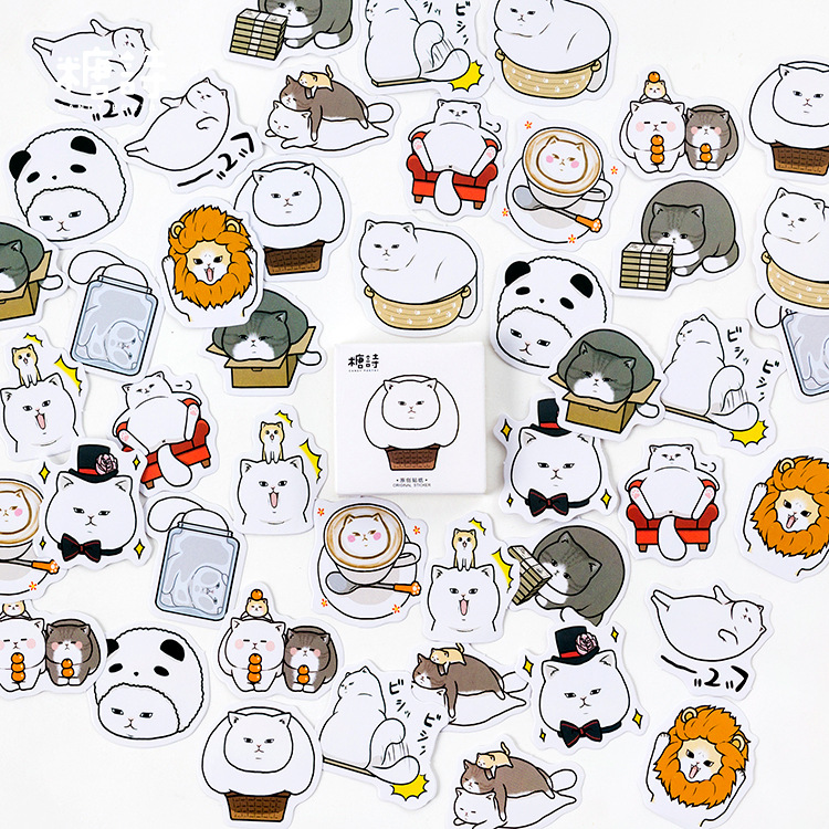 Fat White Cat Stickers Set Decorative Stationery Stickers Scrapbooking DIY Diary Album Stick Lable