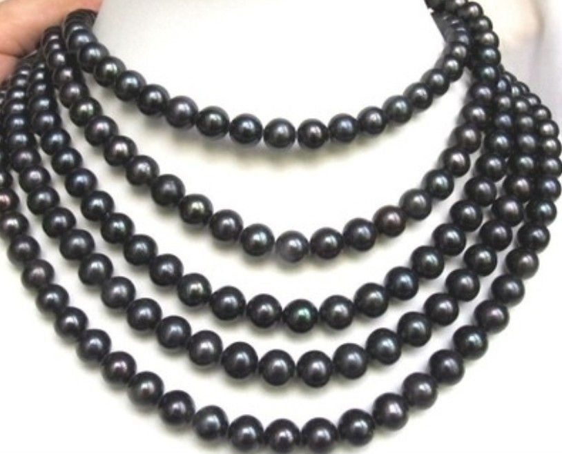 fast AAA PERFECT 9 10mm BLACK SOUTH SEA PEARL NECKLACE 100 AAA